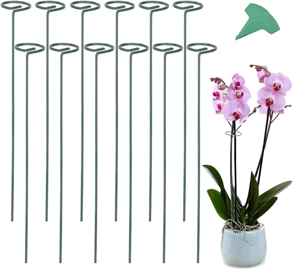 GROWNEER 12 Packs 24 Inches Garden Flower Support Plant Support Stakes, with 15 Pcs Plant Labels, Single Plant Stem Flower Support for Flowers, Orchid, Peony, Lily, Rose
