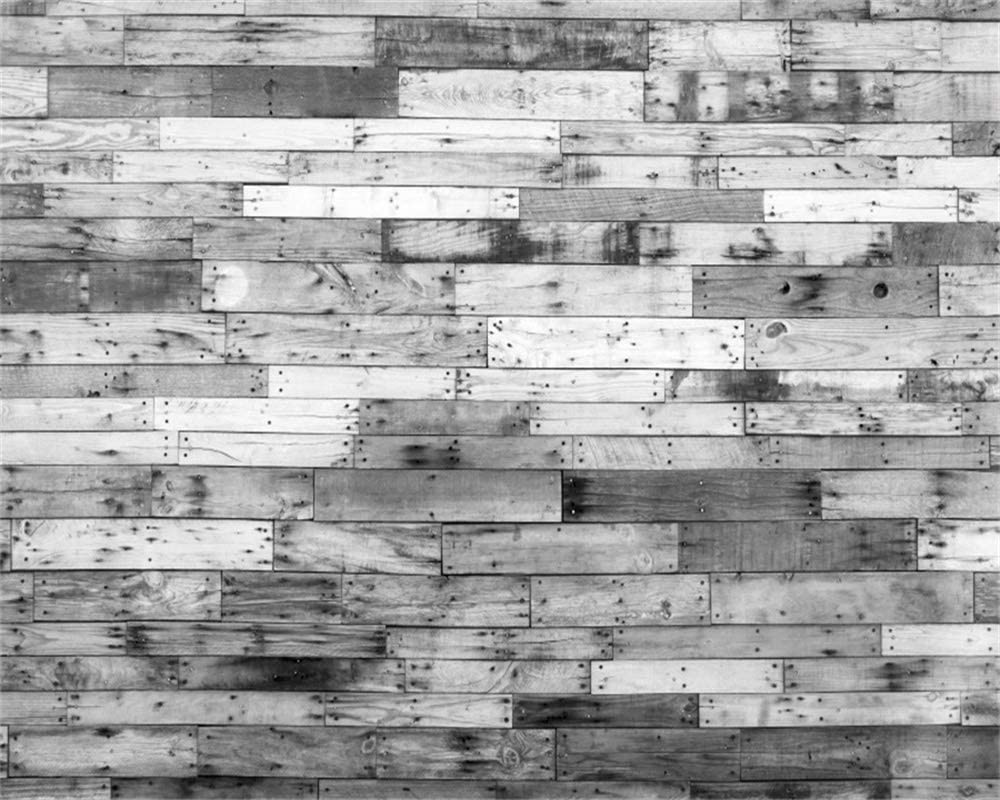 AOFOTO 10x8ft Black and White Wood Plank Backdrop for Photography Vintage Wooden Wedding Background Clothing Pictures YouTube Video Shoot Kid Adult Pet Artistic Portrait Photo Studio Prop Vinyl