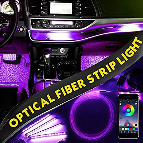 PUNGDUNK 4PCS RGB Strips Ambient Light APP bluetooth Control for Car Interior Atmosphere Light Lamp DIY Music 8M Fiber Optic Band