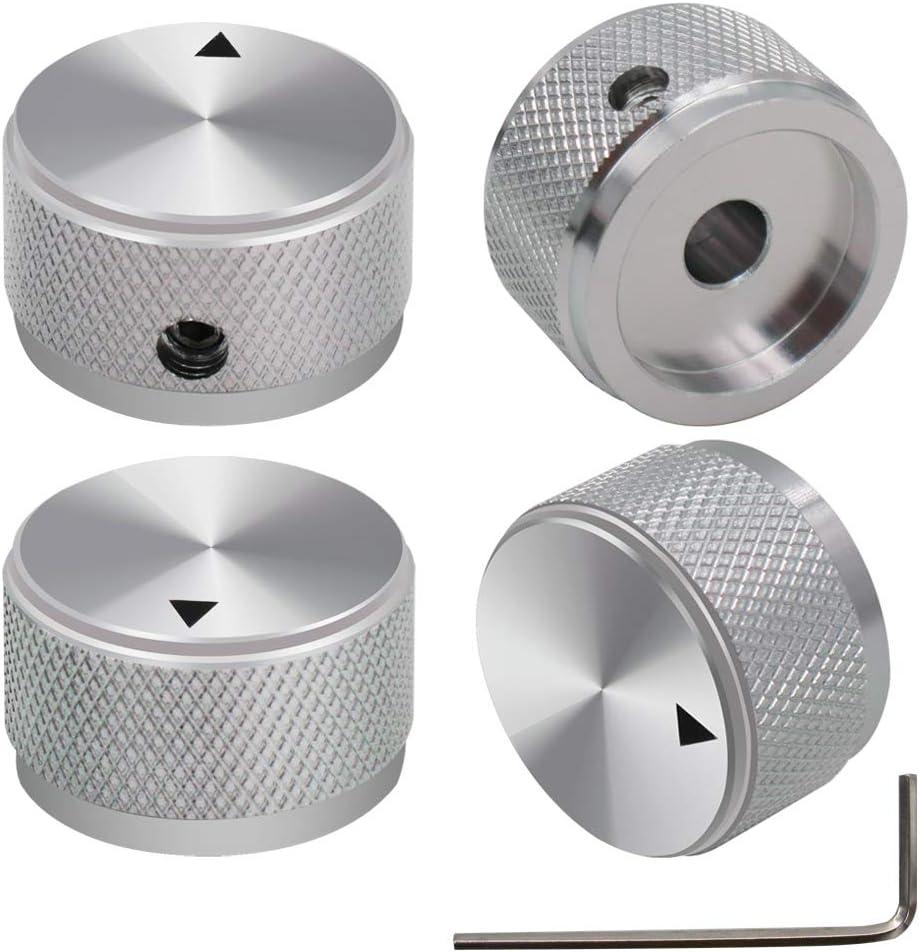 mxuteuk 4pcs Silver Aluminum Alloy Potentiometer Control Knob Volume Audio Electric Guitar Bass Screw Type 25 x 15.5mm (dh) KNOB-03-25SR