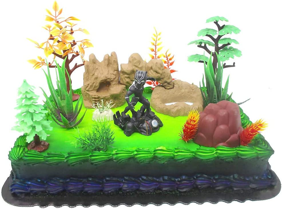 Marvel Comic Super Hero Deluxe BLACK PANTHER Birthday Cake Topper Set Featuring Black Panther Figures and Decorative Themed Accessories