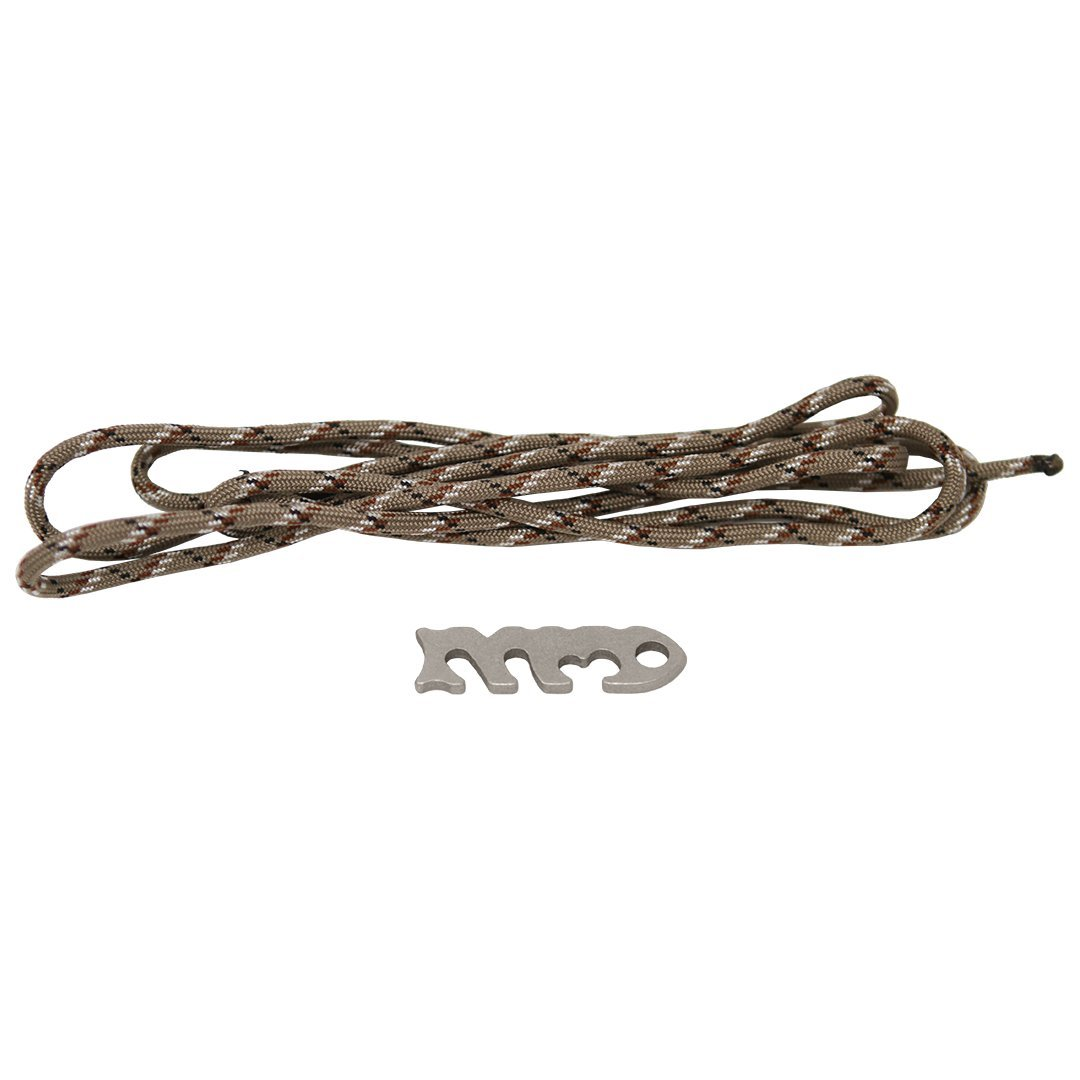 Fish Bone Stainless Steel Knotless Rope and Gear Ties with 5' 550 Paracord – Lightweight Backpacking or Camping Parachute Cord Tiedown – 1 Piece (Desert Camo)