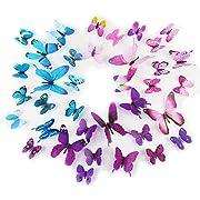 Kids' Wall Sticker Art Decor 3D Lively Butterflies DIY Art Wedding Decor Crafts 36 Pcs,Purple,Pink,Blue