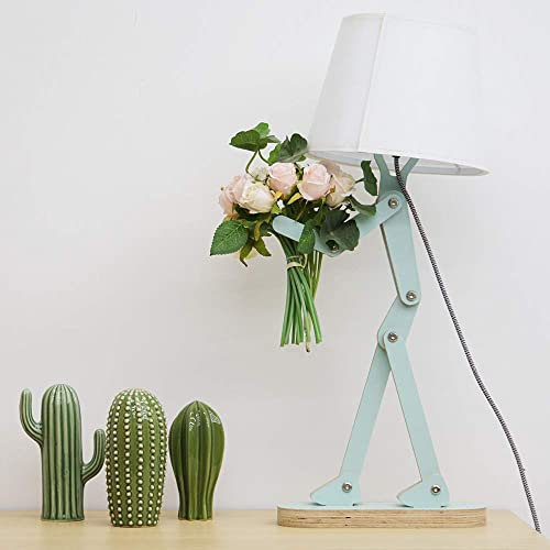 HROOME Cool Novelty Kids Desk Lamp with Swing Arm, Modern Wood Adjustable Table Lamp Bedside Light for Reading Bedrooms Living Room Office Girls Boys – Pea Green, Bulb Included