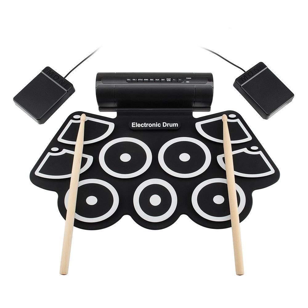 ロールアップドラム USB MIDIロールアップ電子ドラムセット練習ドラムキットサポート9シリコンパッド付きDTXゲームヘッドフォンジャック内蔵スピーカーサスティンペダルドラムスティック録音再生機能ギフト子供のための (色 : ブラック, サイズ : Free size) Free size ブラック B07Q65ND73