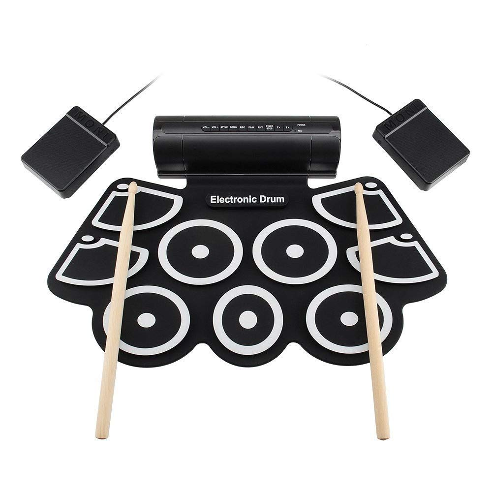 Portable Electronic Drum Pad USB MIDI Roll Up Electronic Drum Set Practice Drum Kit Support DTX Game With 9 Silicon Pads Headphone Jack Built-in Speaker Sustain Pedals Drum Sticks Recording Playback F