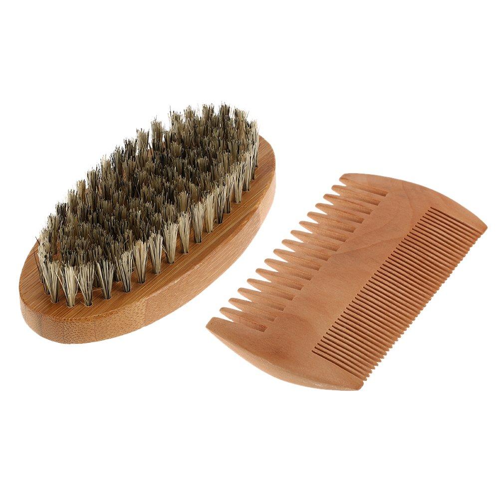 Anself Beard Brush and Comb Set Boar Bristles Mustache Shaving Brush Bamboo Beard Comb Male Facial Hair Brush Set