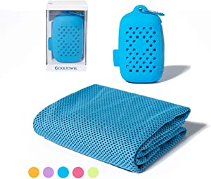 Cooling Towel for Men & Women for Running,Gym,Cycling,Yoga,Workout,Travel & Beach,Fast Drying,Silicone Gift Box with Hook (Blue)