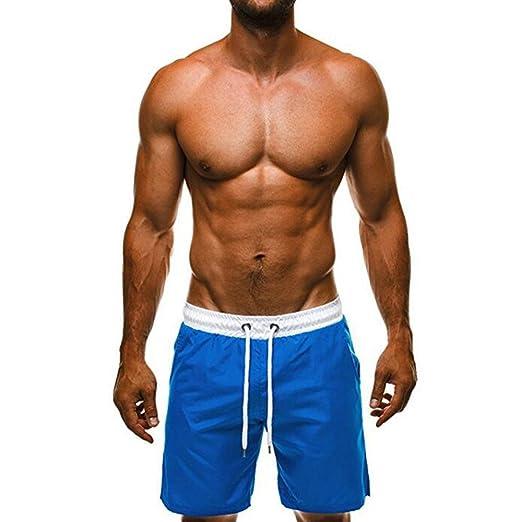 1bcdd502ce MIARHB Men's Swim Trunk Beachwear Summer Holiday Breathable Workout & Swim  Short Blue