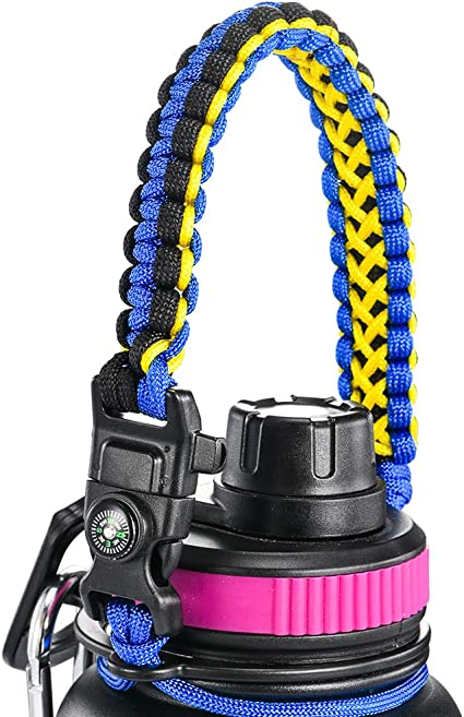 Paracord Handle Survival Strap Cord Fits Wide Mouth Water Bottles 12oz to 64 oz
