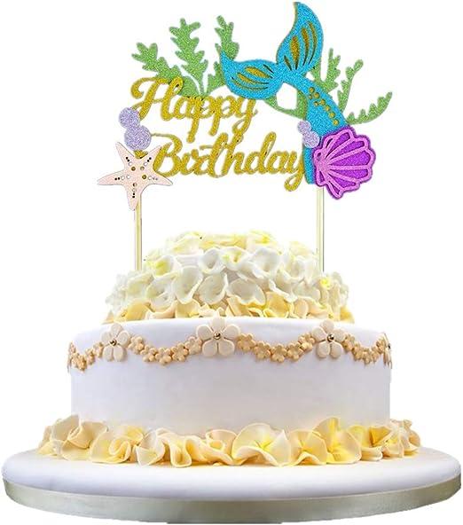 Pleasing Amazon Com Amosfun 2Pcs Happy Birthday Cake Topper Mermaid Cake Personalised Birthday Cards Akebfashionlily Jamesorg