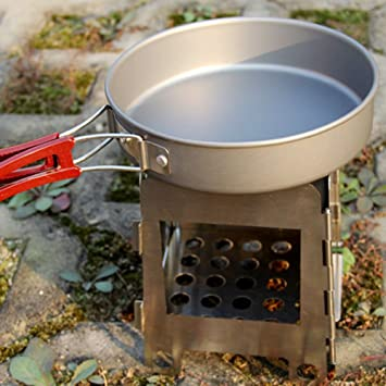 pedgeo (TM) ligero portátil plegable de acero inoxidable madera estufa cocina bolsillo Alcohol estufa
