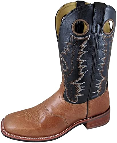 Size 11EE Smoky Mountain Mens Tan//Black Ryan Square Toe Western Cowboy Boot