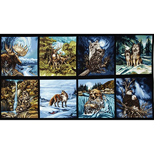 North American Wildlife 3 Block Panel 24 In. Animals Nature Fabric By The Yard (Panel Fabric By The Yard compare prices)