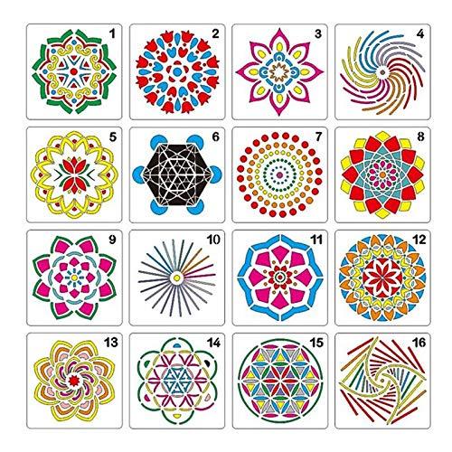FOONEE 16 Pcs Mandala Template, Mandala Dotting Stencils Template, Mandala Dot Painting Templates for Kids to Develop Intelligence, Painting On Wood, Airbrush and Walls Art (5x5in)