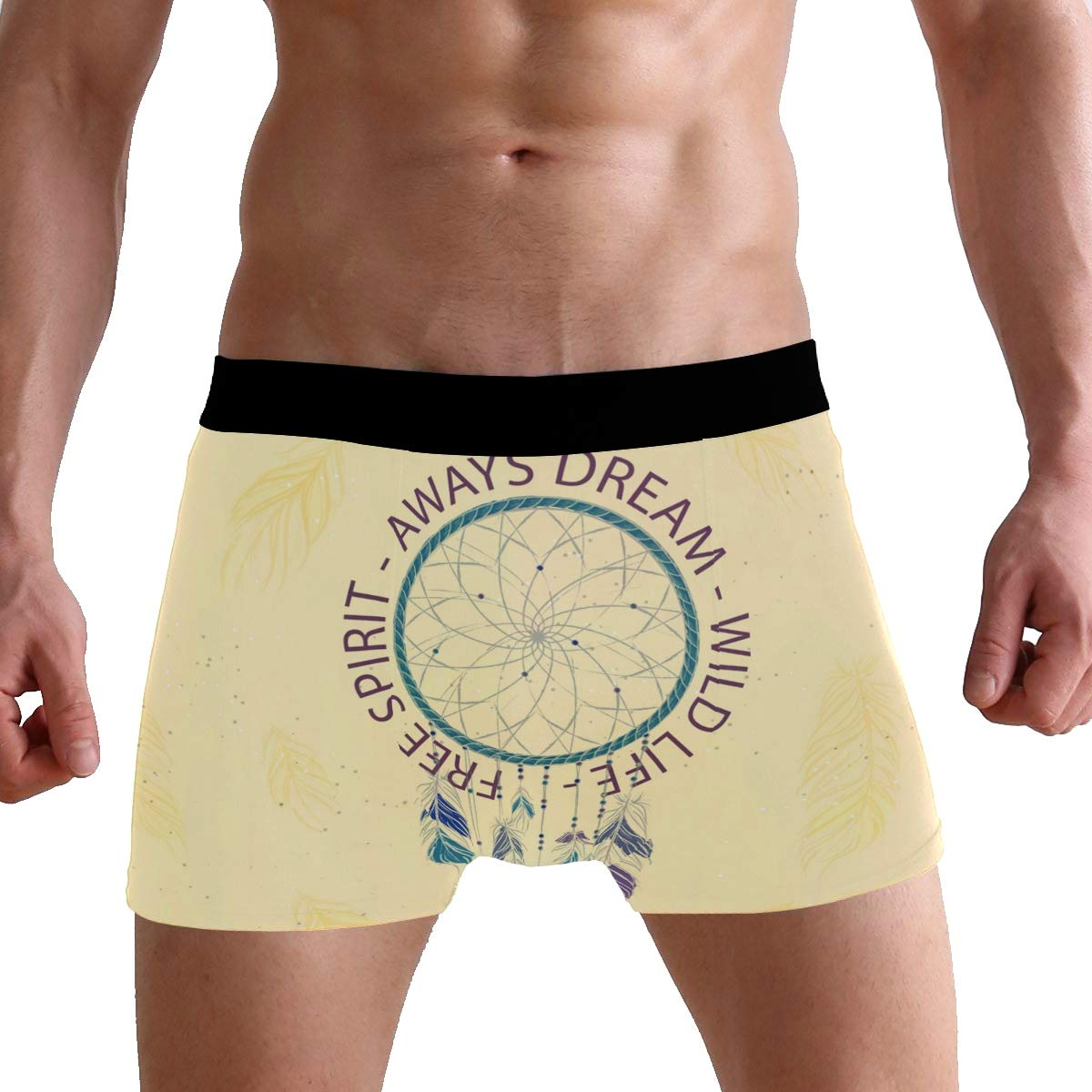 Jojogood Mens Dream Catcher and Inspirational Words Breathable Boxer Soft Briefs Classic Underwear Shorts