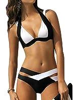 Damen Kontrastfarbe Bikini Push Up Zweiteiler Neckholder Badeanzug