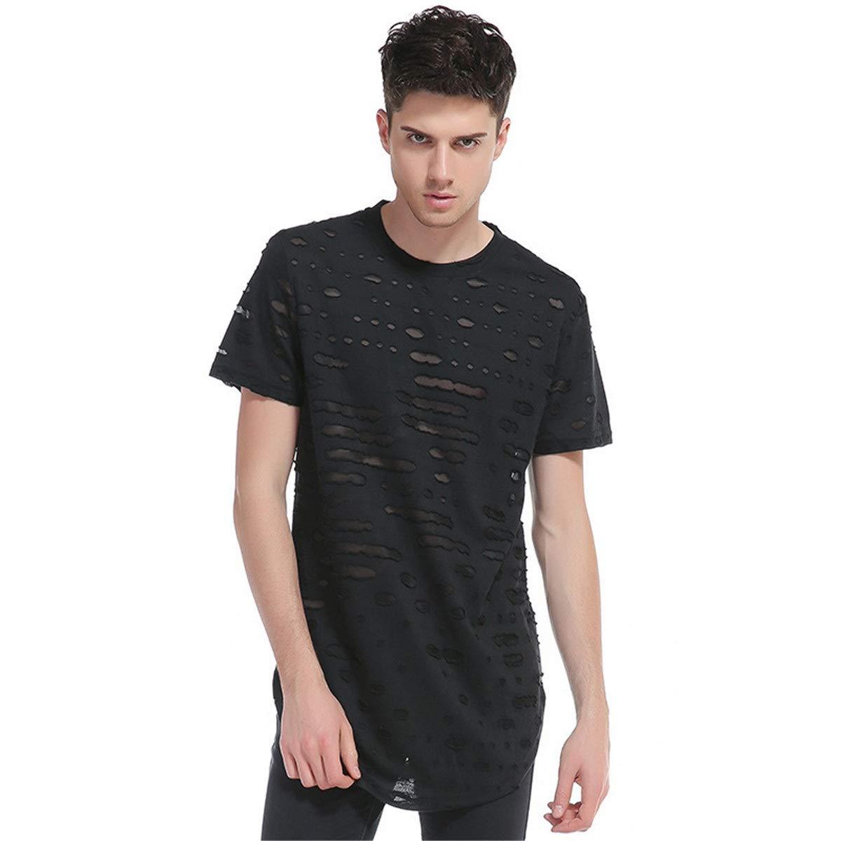 DKDUVQ Sports T-Shirt Mens Hole Round Neck Short-Sleeved Hip-hop T-Shirt