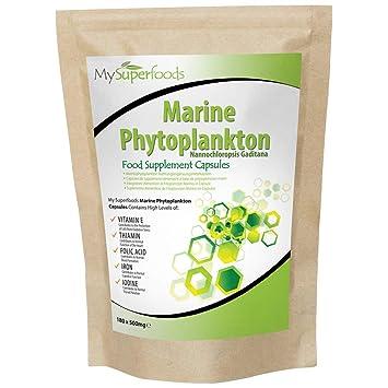 Capsulas de fitoplancton marino (180 capsulas x 500mg), MySuperFoods, el alimento más puro en la tierra, cultivado del mar profundo, Rico en ...