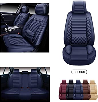 OASIS AUTO Leather Car Seat Covers Faux Leatherette Automotive Vehicle Cushion Cover for Cars SUV Pick-up Truck Universal Fit Set for Auto Interior Accessories OS-006 Full Set, Black