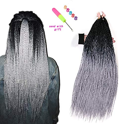VERVES Ombre Senegalese Twist Hair 6 pack/lot 24 inch grey Crochet braids 30 Roots/pack Kanekalon Synthetic Braiding Hair for Women ()