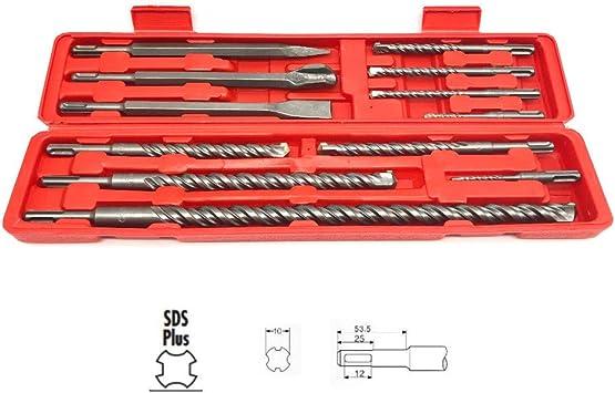 Juego de brocas y escarpas SDS Plus en estuche 12 piezas: Amazon.es: Bricolaje y herramientas
