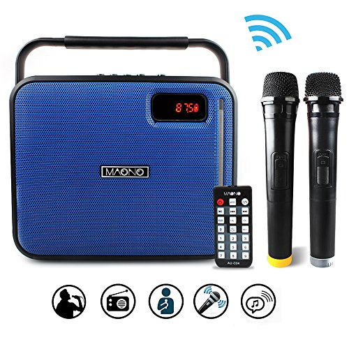 MAONO Bluetooth PA system with Two Wireless Handheld Microphones for Christmas Adults Kids FM Radio (Blue)