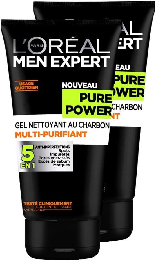 LOréal Men Expert pura potencia Gel Limpiador Hombre 5 en 1 anti-manchas - Conjunto de 2: Amazon.es: Salud y cuidado personal