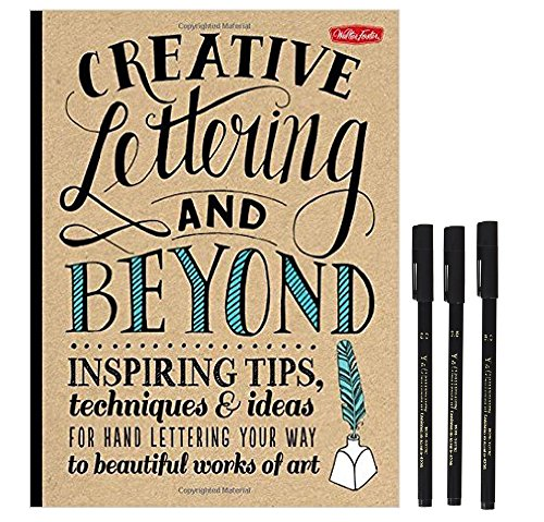 Creative Lettering and Beyond Book with Yasutomo Calligraphy Chisel Tip Markers, 3 Pack (Lettering Chisel)
