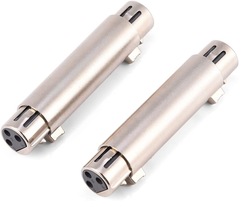 Pomya 3-Pin XLR Female to Female Audio Connector 2Pcs XLR Microphone Mic Adapter Gender Changer