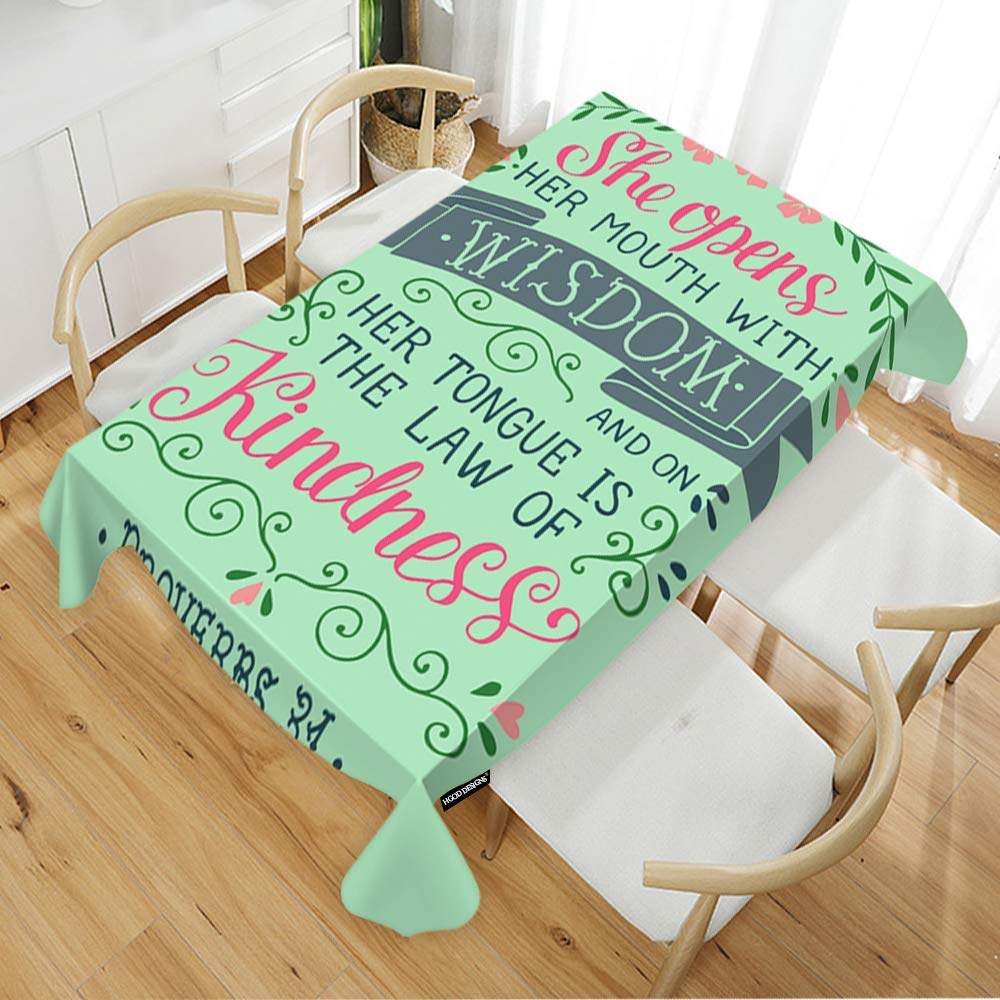 "HGOD DESIGNS Quote Rectangle Tablecloth,Hand Lettering she Opens her Mouth with Wisdom Art Design Rectangular Table Cover for Kitchen Dining Room,52"" Wide x70 Long(132178CM)"