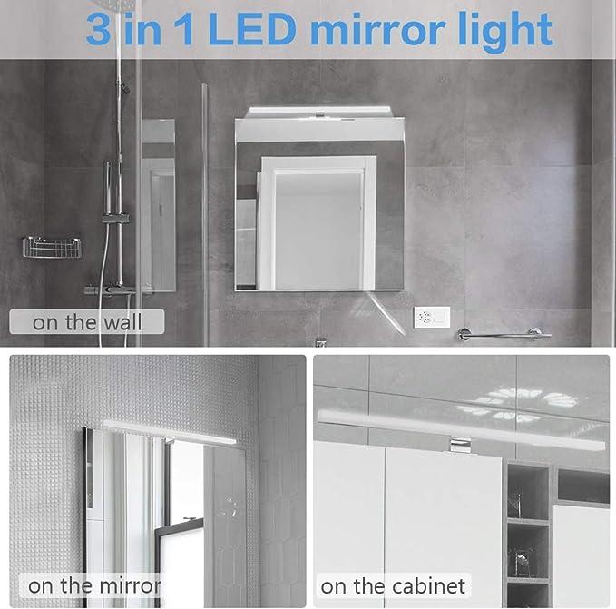 Luz Espejo Baño, Infankey 3 en 1 Lámpara Espejo Baño 12W 220V 60CM 800LM 4000K, IP44 Impermeable, para Espejo/Gabinete/Pared [Clase de Eficiencia Energética A+]: Amazon.es: Iluminación