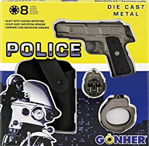 Gonher - Conjunto de policía con pistola 8 tiros, esposas y placa