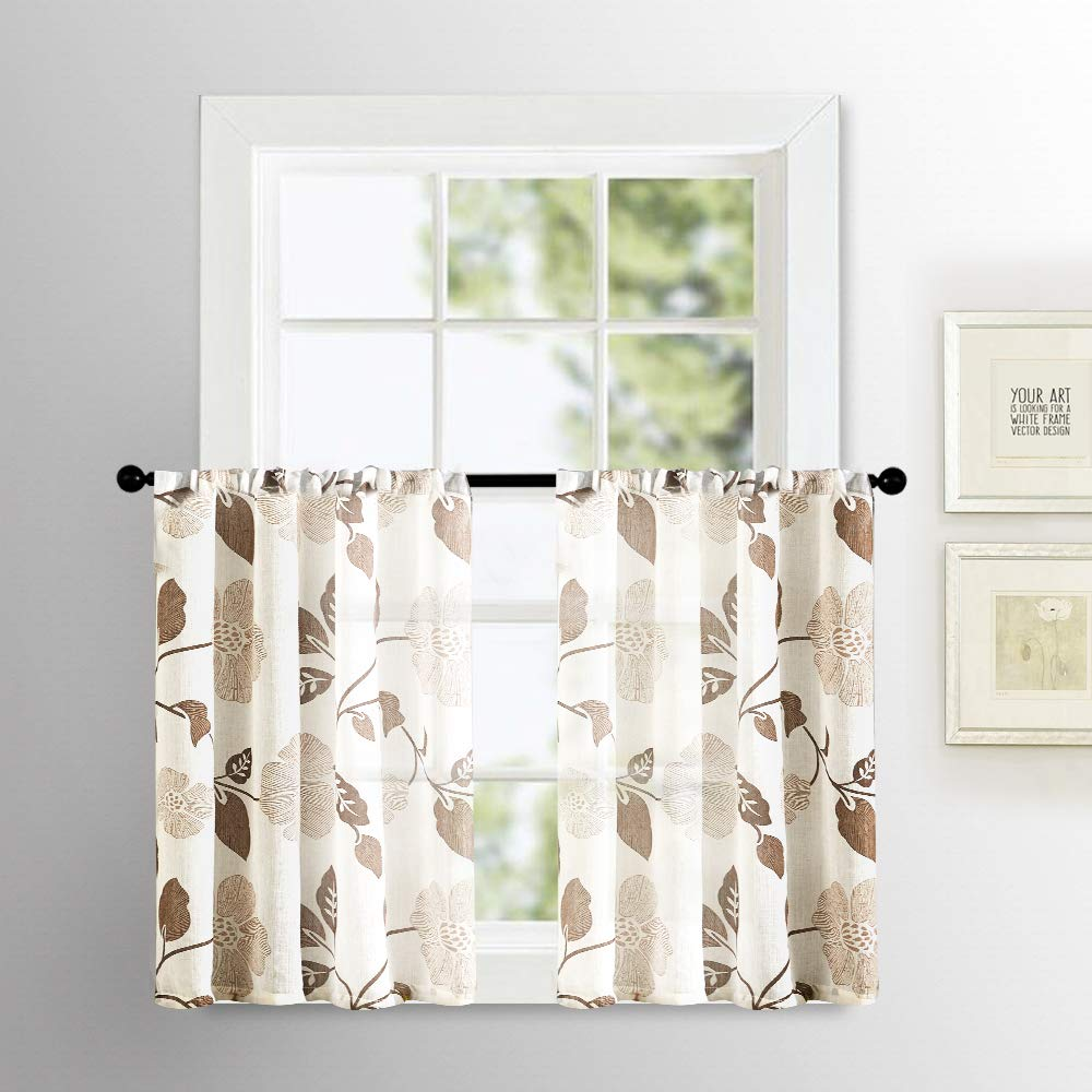 Sheer Tier Curtains Floral Printed 36 inch Length Kitchen Tiers Linen Blend Textured Small Cafe Curtain Sheers Brown Flower Leaves Print Bathroom Half Window Curtains Short Rod Pocket 2 Panels