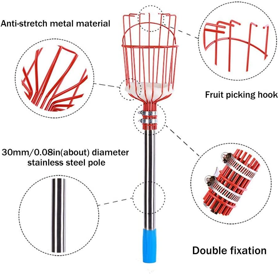 Fruit Picking Tool For Any Kinds Of Fruits Twist-On Professional Fruit Catcher Harvester With Storage Basket oshidede Fruit Picker Basket With Cushion And Telescopic Stainless Steel Pole
