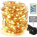 Moobibear 99ft 300LEDs Dimmable Outdoor Indoor Copper Wire String Lights - Warm White Firefly Lights Plug In - Waterproof Fairy Lights with Remote Control for Garden Room Patio Party Halloween Christmas