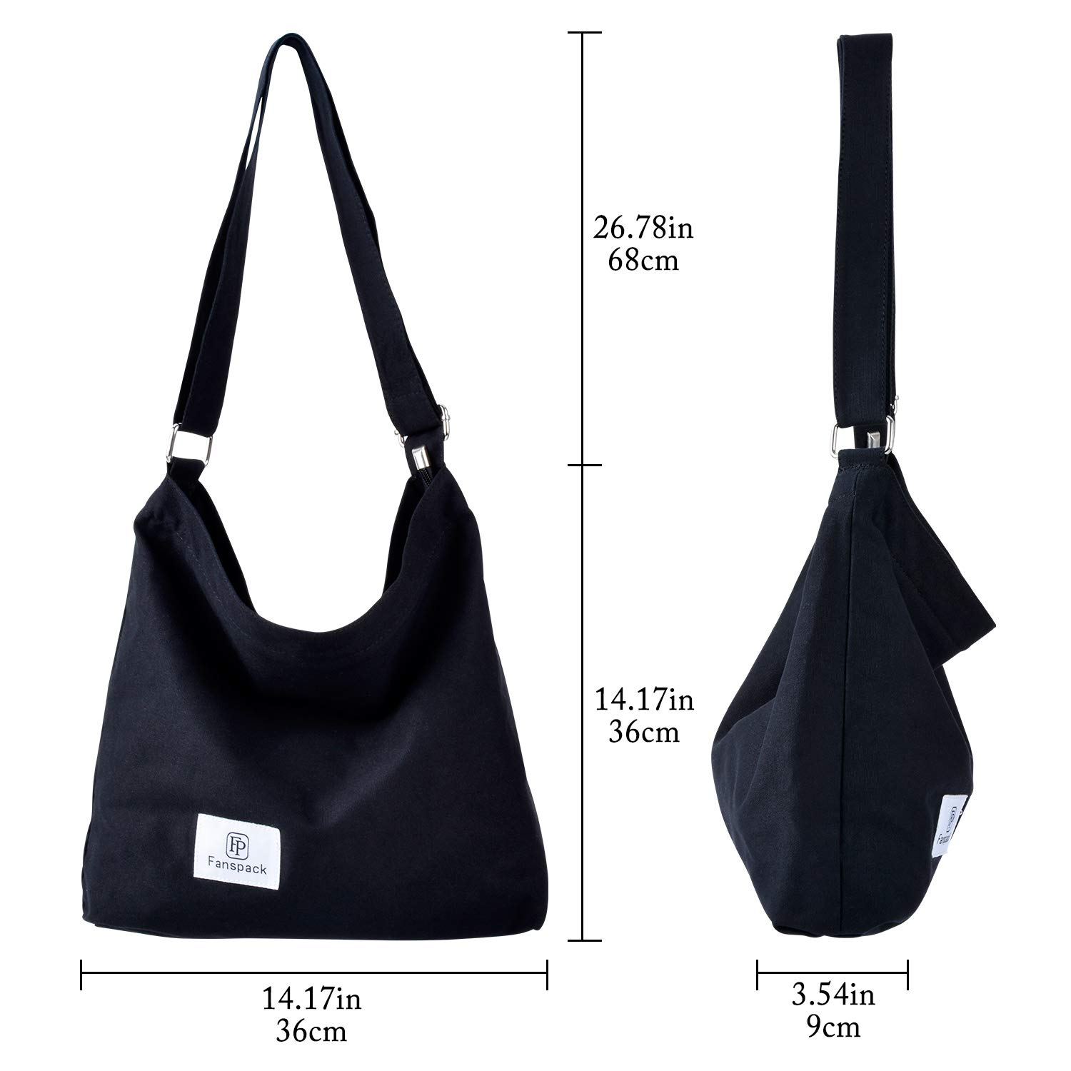 903898e8e Amazon.com: Fanspack Women's Canvas Hobo Handbags Simple Casual Top Handle  Tote Bag Crossbody Shoulder Bag Shopping Work Bag (Black-Original Design):  ...