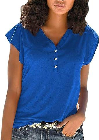 Minetom Mujer Casual Camiseta Verano Camisa Manga Corta Blusas Casuales Cuello en V Botón Básicas Boho Shirts Tops: Amazon.es: Ropa y accesorios