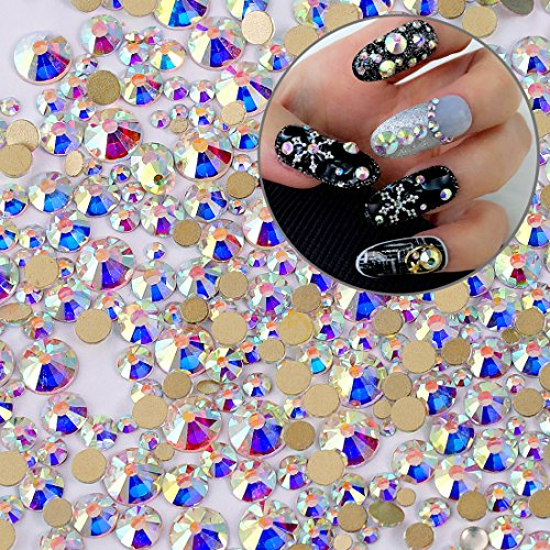 Round Nail Art (Iridescent Crystal AB Shine Round Nail Art Flatbacks Gold Back Rhinestones Resin Gems 450 pcs Mix SIZE 2mm - 6mm/Separate Bag Each Size(Plate not Included))
