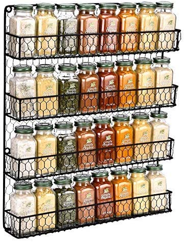 Amazon Com Spice Rack Wall Mounted Spice Rack Organizer Chicken Wire Rural Style Spice Organizer Spice Rack Wall Mount 4 Tier Black Spice Rack Kitchen Dining