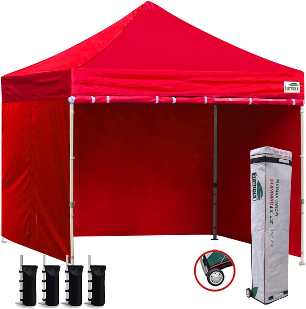 Eurmax 10 x10 Ez Pop-up Canopy Tent Commercial Instant Canopies with 4 Removable Zipper End Side Walls and Roller Bag, Bonus 4 SandBags Red