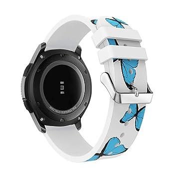 DIPOLA Correa de Reloj para Samsung Gear S3 Frontier Reemplazo de Banda de muñeca de Silicona de patrón de Moda: Amazon.es: Deportes y aire libre