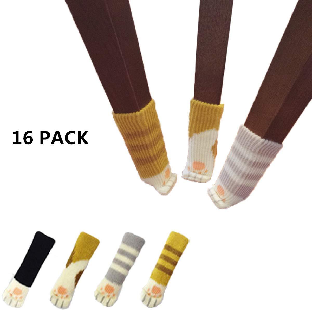 WESEEDOO Cojines para Muebles Silla Protectores De Piernas Calcetines para Silla Piel Antideslizante Premium Antideslizante Pies Caps 16 Pack