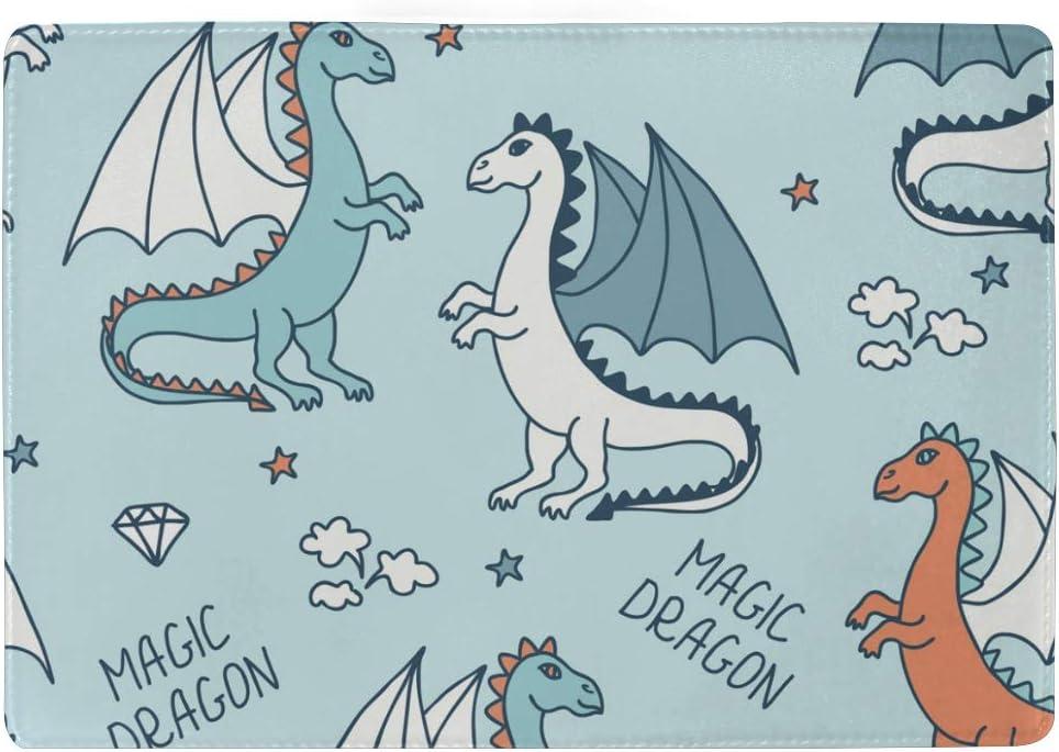 Balii /Étui de protection en cuir pour passeport Motif dragon /étoile et diamants pour fille