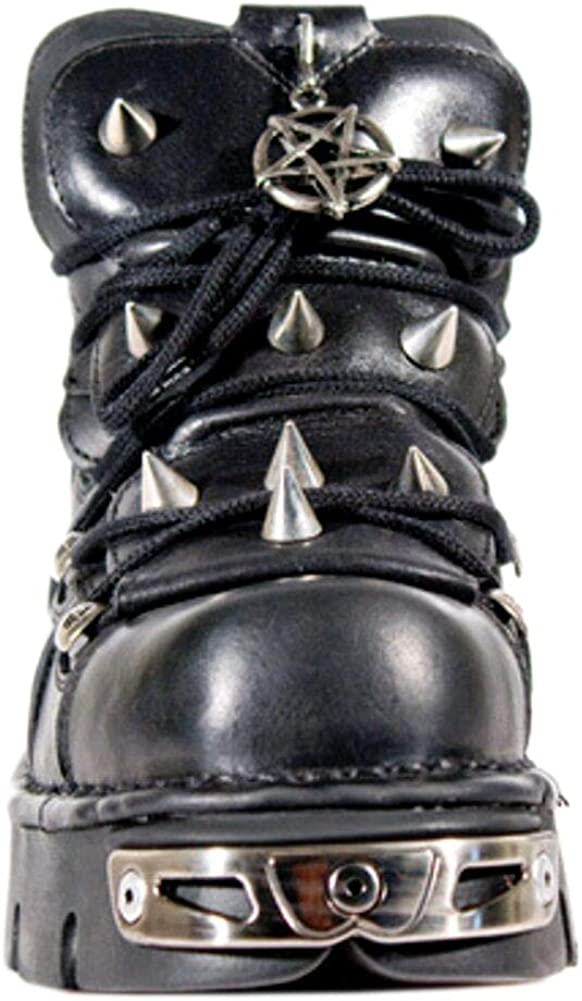 New Rock Newrock 110 Black Leather Stud Goth Biker Boots