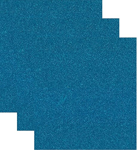 (Siser Glitter Heat Transfer Vinyl HTV for T-Shirts 10 by 12 Inches (1 Foot) 3 Precut Sheets (Aqua Blue))