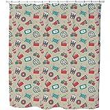 Movie Night Shower Curtain: Large Waterproof Luxurious Bathroom Design Woven Fabric