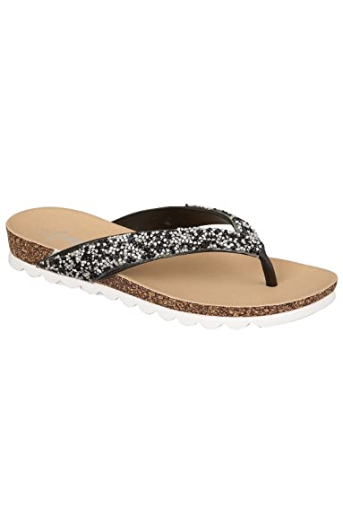 3f5b69d2a948 Ladies Diamante Jewel Encrusted Strap Cork Contrast Sole Flat Toe Post  Sandals  Black