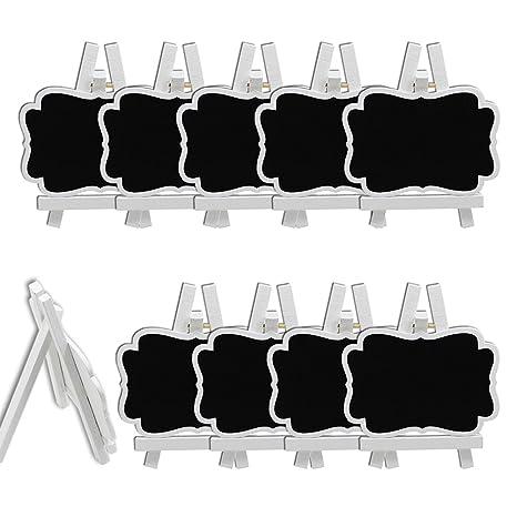 rosenice 10 unidades Mini Pizarra con caballete Tarjetas de mesa Memo Message Pizarra para Boda Fiesta mesa decoración