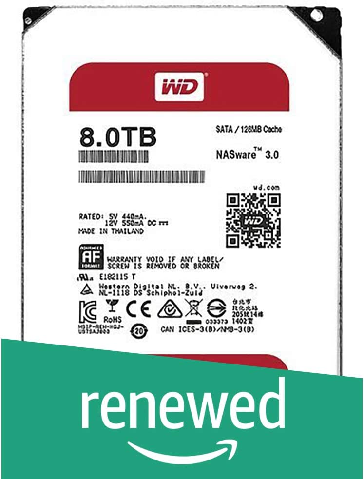 WD Red 3TB NAS Hard Disk Drive - 5400 RPM Class SATA 6 Gb/s 64MB Cache 3.5 Inch - WD30EFRX (Renewed)